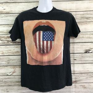Tony Hawk American Flag Mouth Crew Neck Tee Shirt
